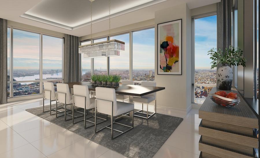 500 walnut penthouse dining room