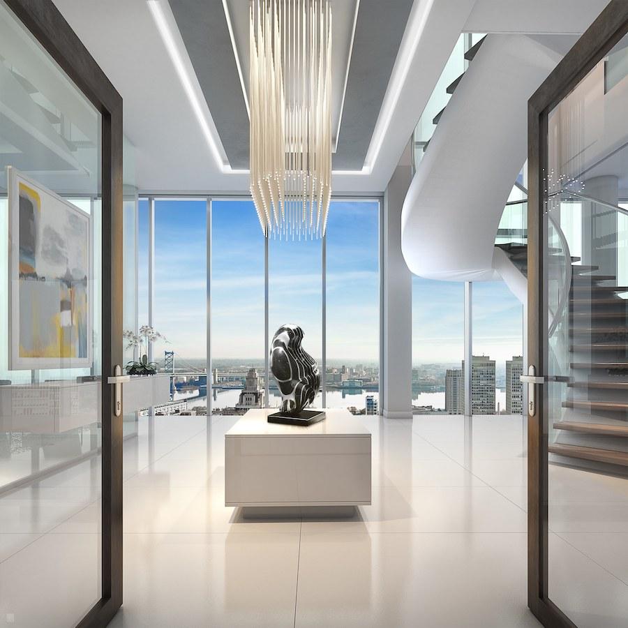 500 walnut penthouse foyer