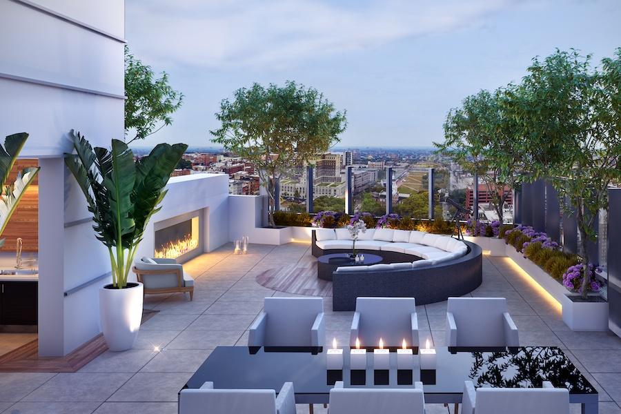 500 walnut penthouse roof deck rendering