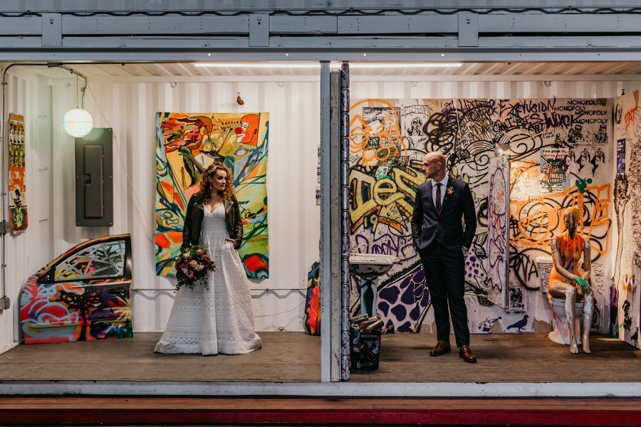 Cherry Street Pier bride and groom portrait