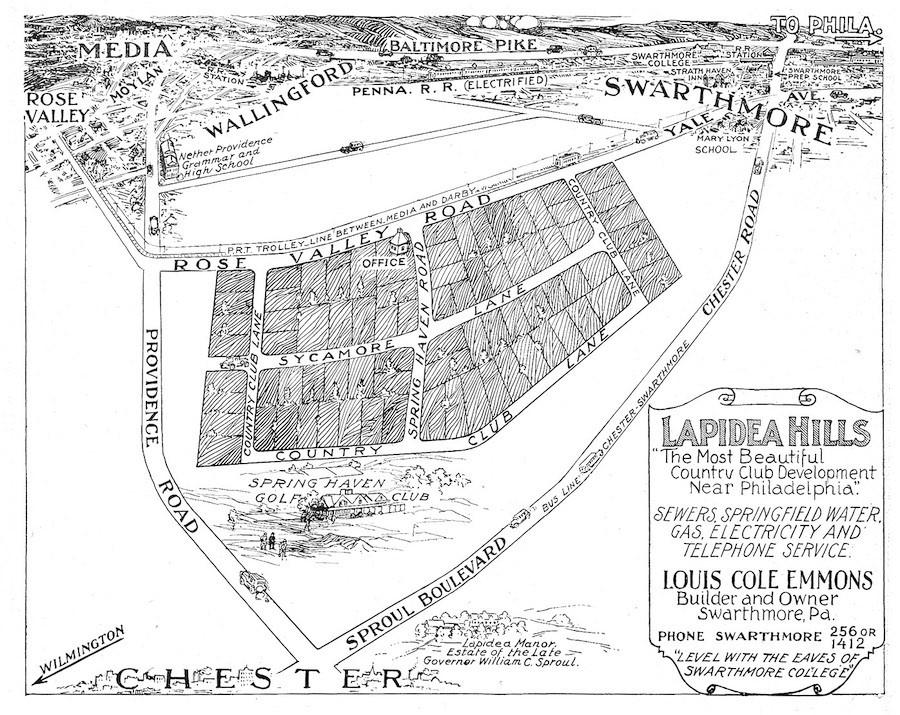 1928 map showing first lapidea subdivision