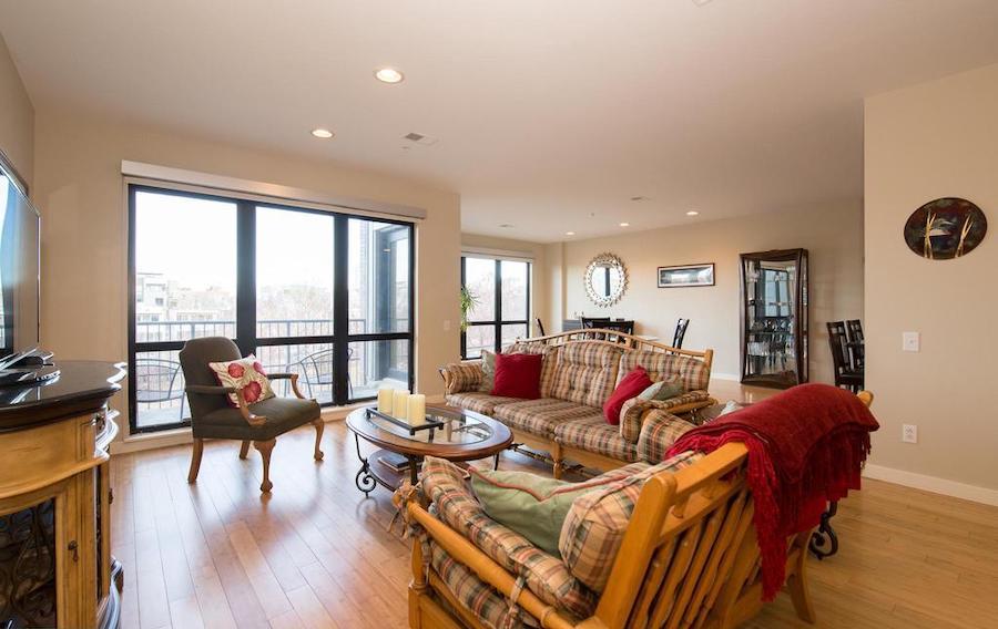 bi-level northern liberties condo living room