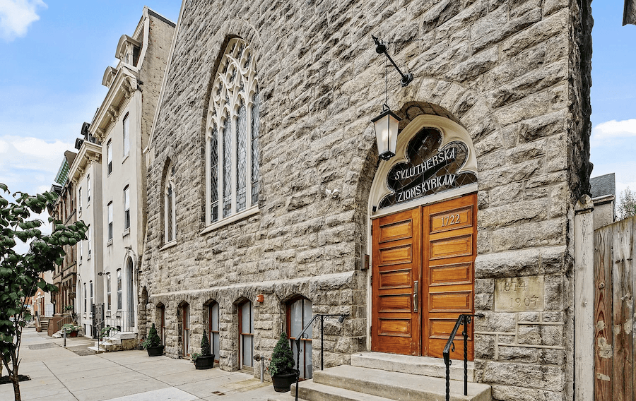 main building entrance and front elevation