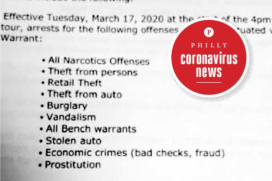 philadelphia police arrests memo in the coronavirus crisis