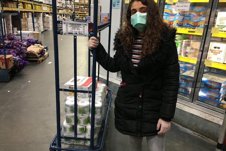 woman shops at restaurant depot during the philly coronavirus crisis