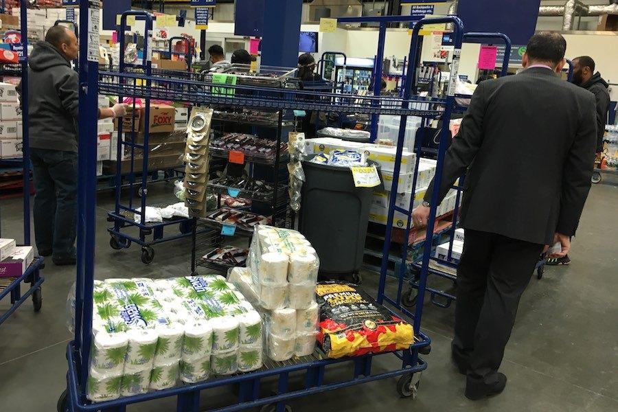 buying toilet paper at restaurant depot during the philadelphia coronavirus crisis