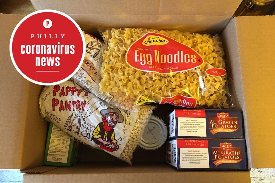 a free box of food handed out by the city of philadelphia during the coronavirus crisis