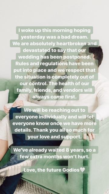 Coronavirus wedding postponement announcement