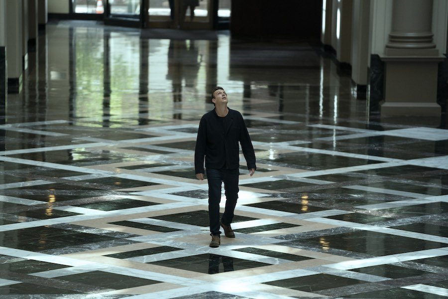 Peter (Jason Segel) inside the Curtis building in Dispatches from Elsewhere