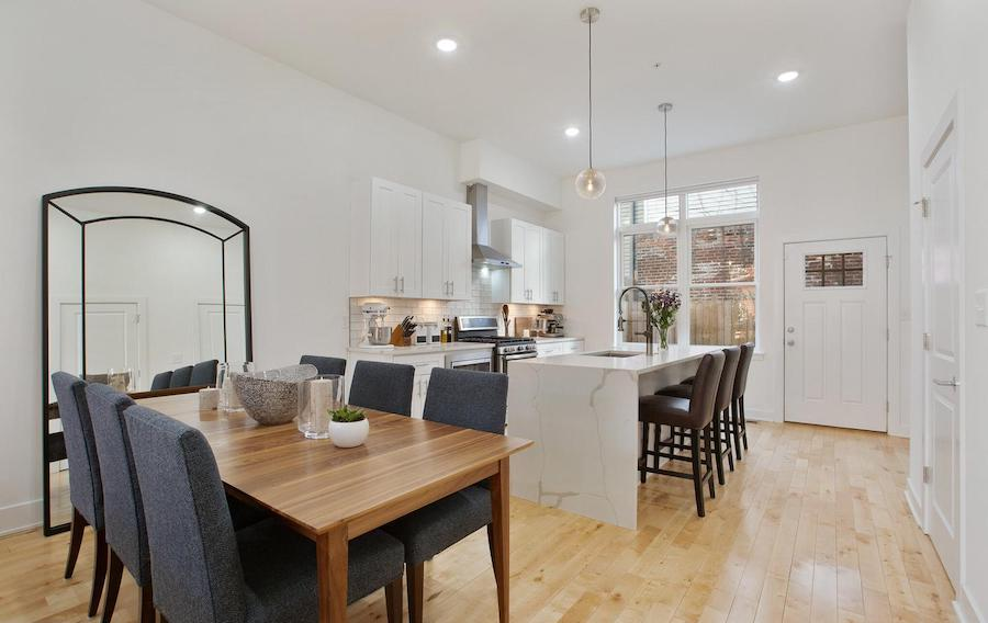 brewerytown young rowhouse for sale dining room and kitchen