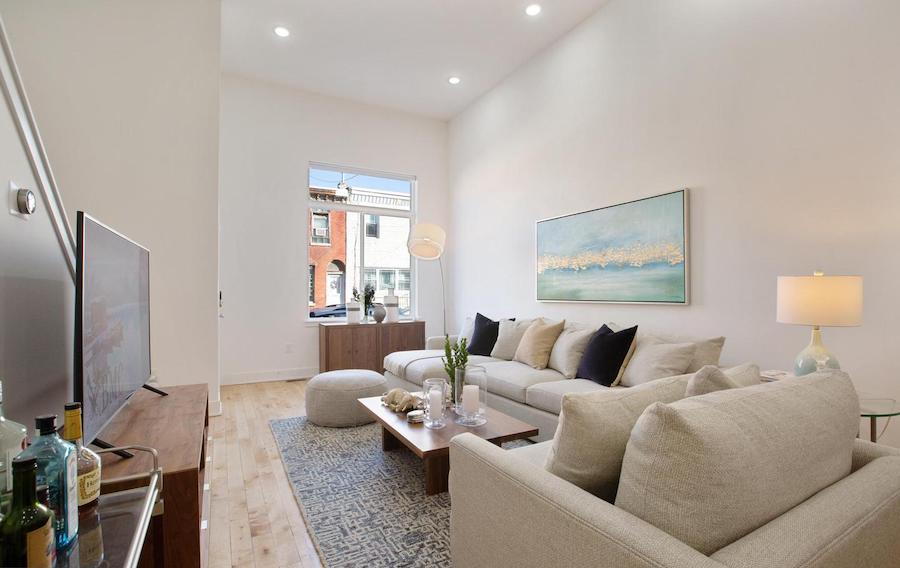 brewerytown young rowhouse for sale living room