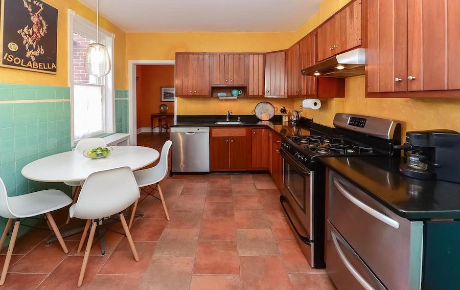 chestnut hill duplex rowhouse kitchen