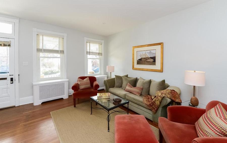 chestnut hill duplex rowhouse main unit living room