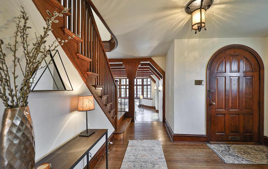 east falls tudor revival house for sale foyer