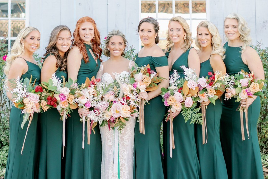 hunter green bridesmaid dresses