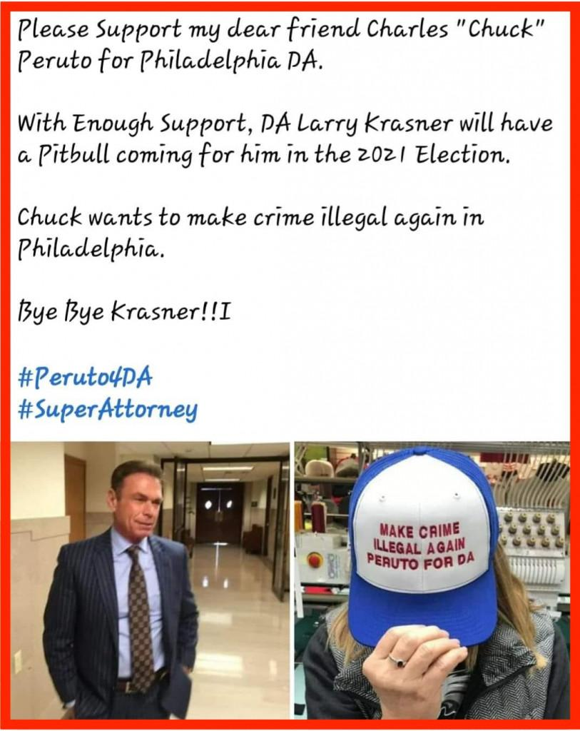 a facebook post by a Chuck Peruto supporter