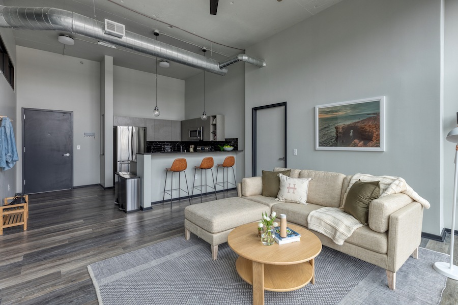 living room and kitchen of common apartment