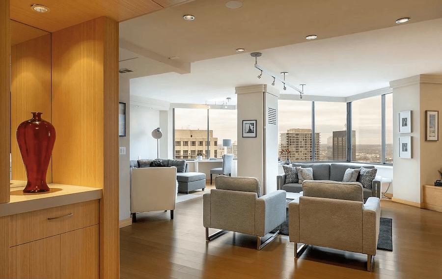 high-floor rittenhouse condo for sale living room