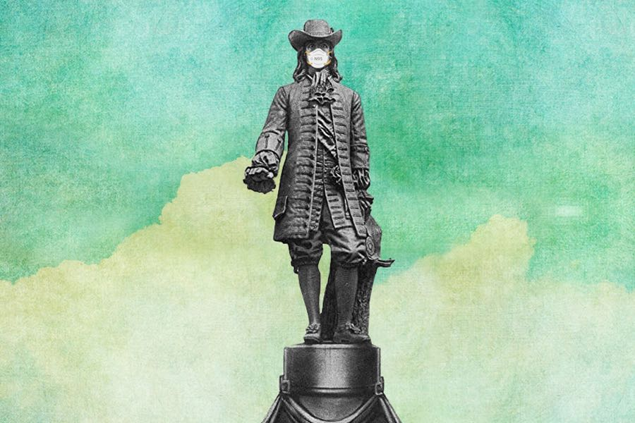 a photo illustration of the william penn statue on top of city hall wearing a coronavirus face mask in philadelphia