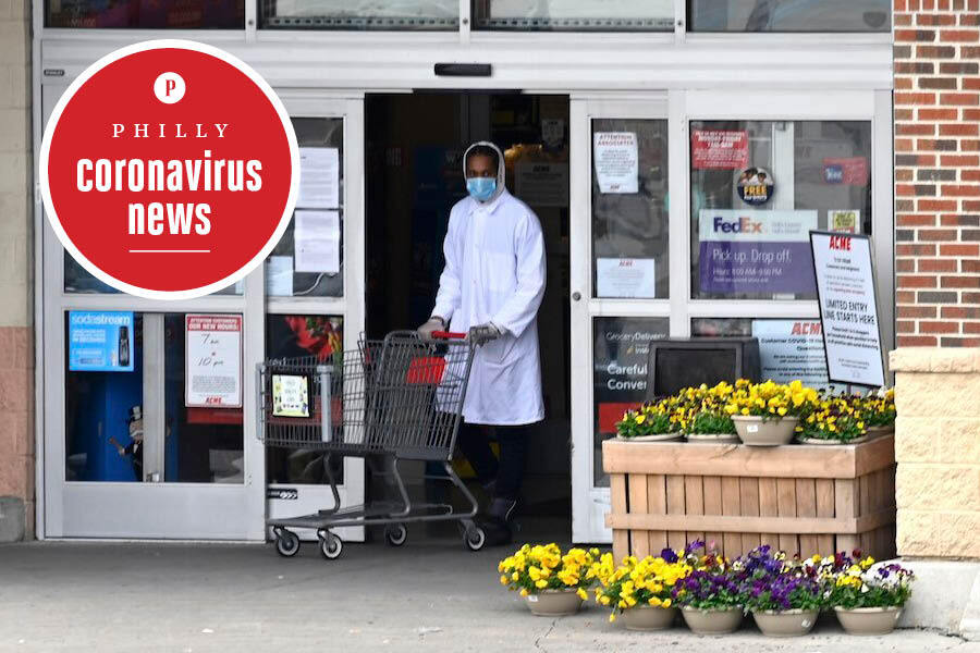 A person in a mask at the ACME grocery store in the Mt. Airy section of Philadelphia during the coronavirus crisis, on April 14, 2020.
