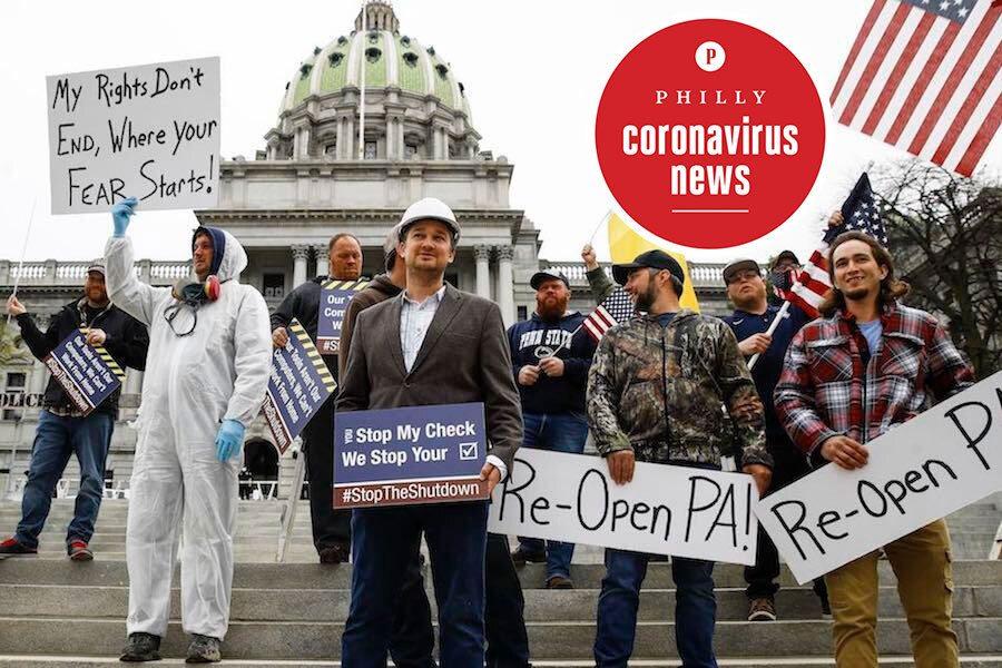reopen pennsylvania protestors in harrisburg during the coronavirus crisis