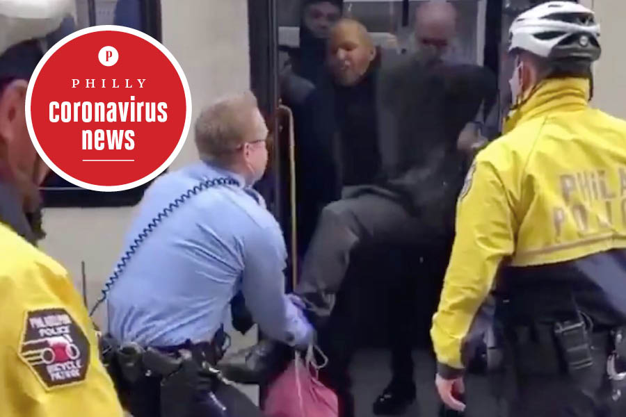 police drag unmasked man off of a septa bus in philadelphia during the coronavirus crisis