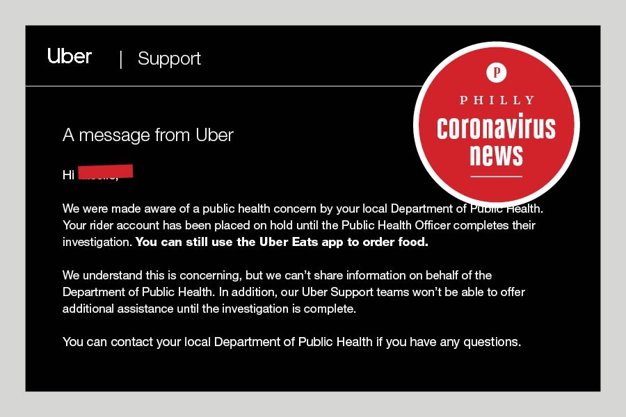 a message sent to a philly uber rider who has been suspended during the coronavirus crisis