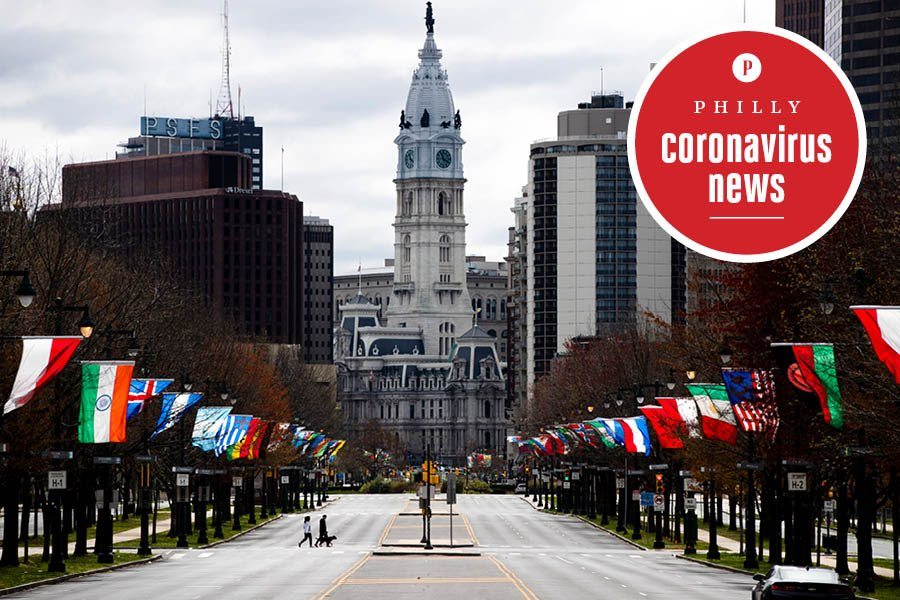 a view of city hall and the benjamin franklin parkway during the philadelphia coronavirus crisis