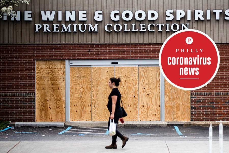a closed wine and spirits store in philadelphia during the coronavirus crisis