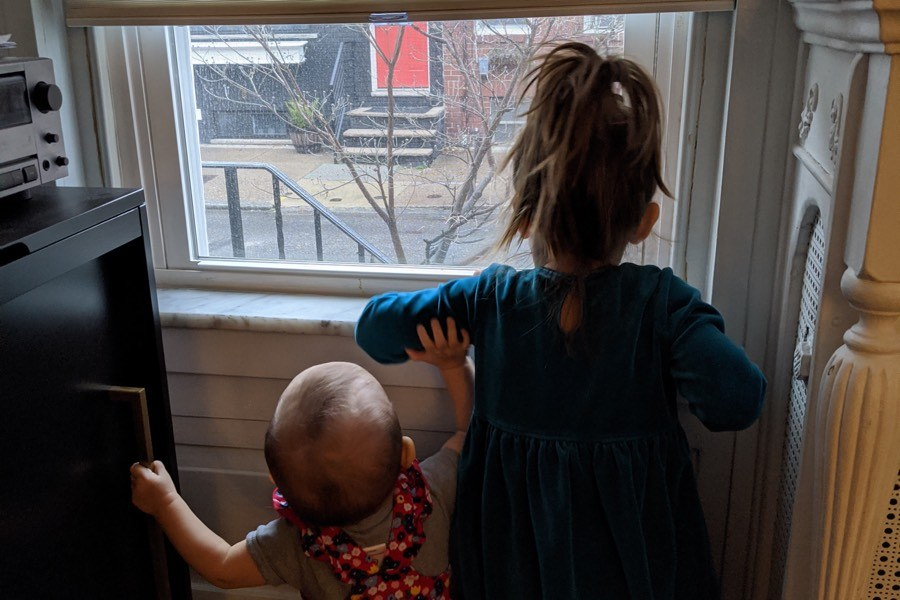 My kids spend a lot of time looking longingly out the window during the coronavirus shutdown.