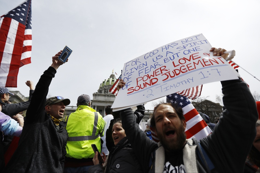 reopen pa protestors in harrisburg protesting the coronavirus shutdown in pennsylvania