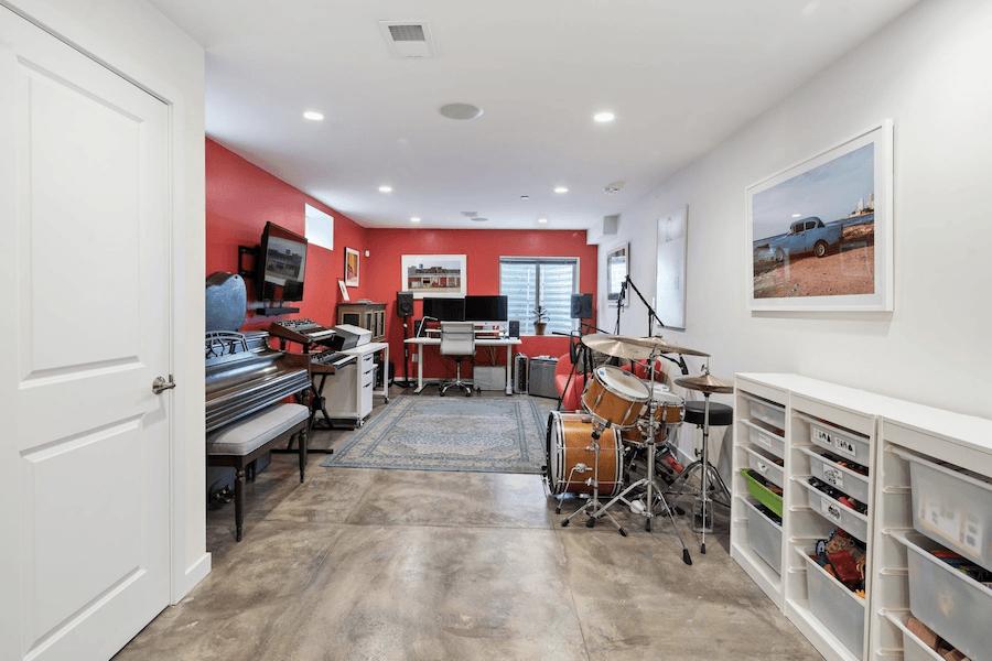 bella vista modern rowhouse for sale basement rec room
