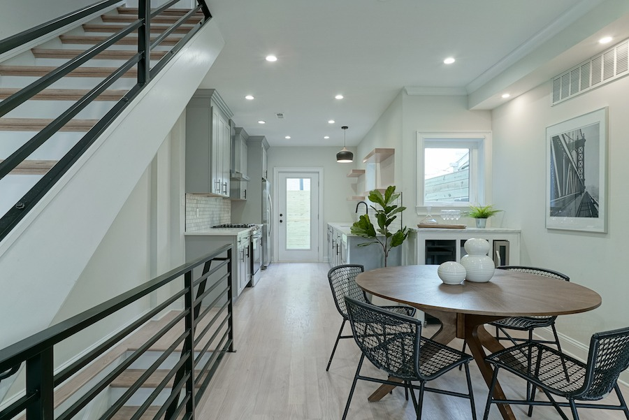 rehabbed fishtown rowhouse for sale dining room and kitchen