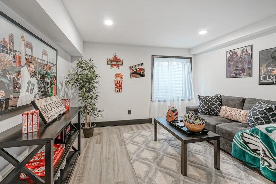 Basement media room (bedroom)