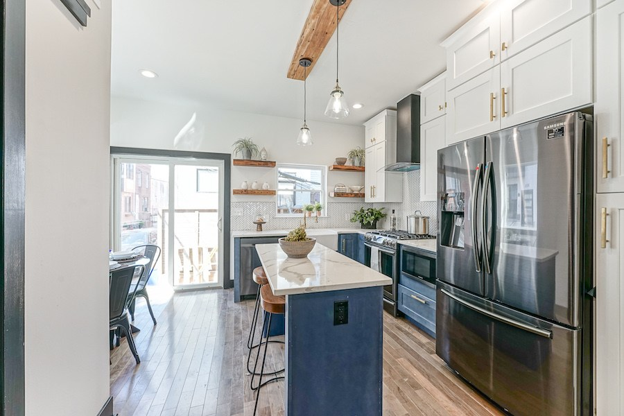 rebuilt point breeze rowhouse for sale kitchen and dining nook