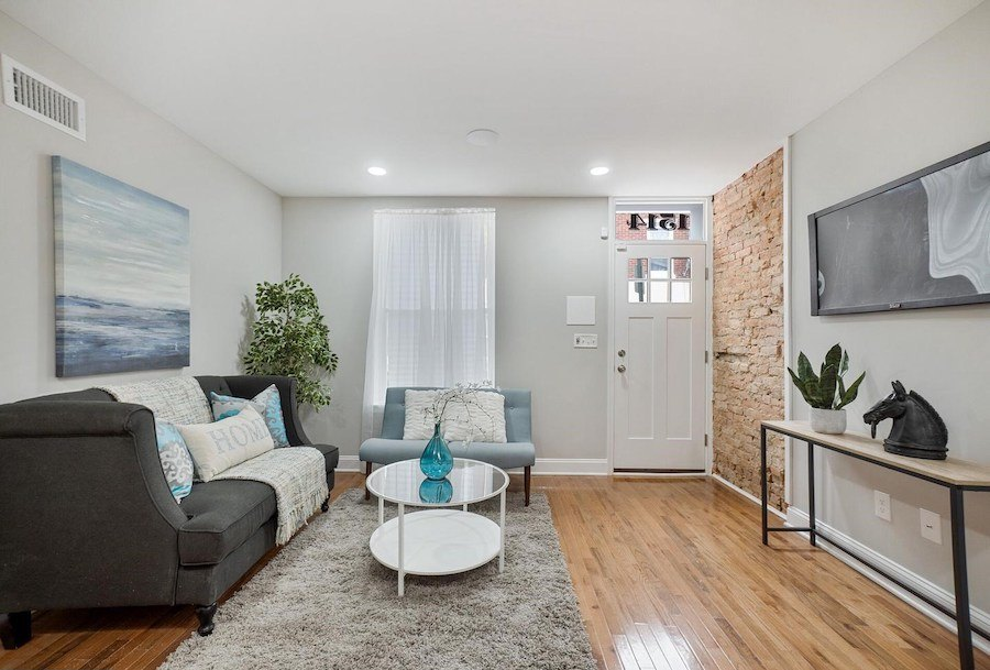 rebuilt point breeze rowhouse for sale living room