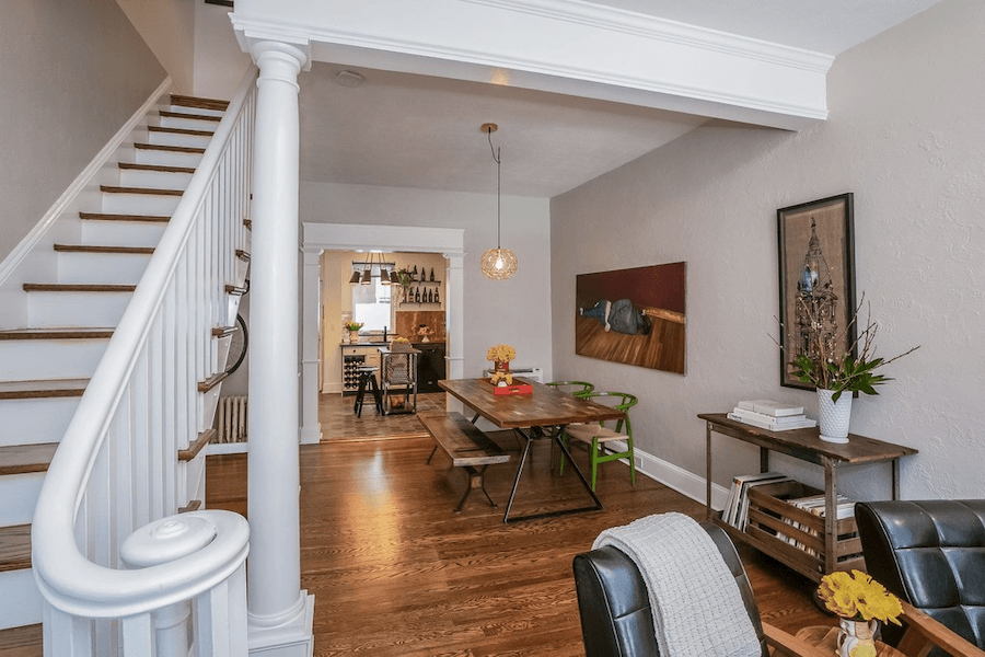 renovated queen village rowhouse for sale dining room