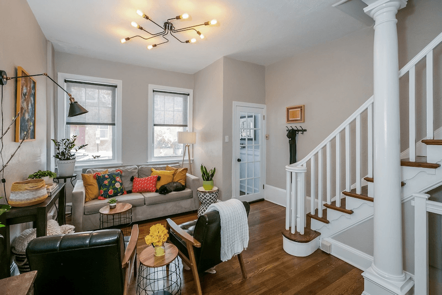 renovated queen village rowhouse for sale living room