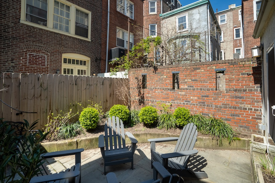 house for sale rittenhouse remodeled row rear patio