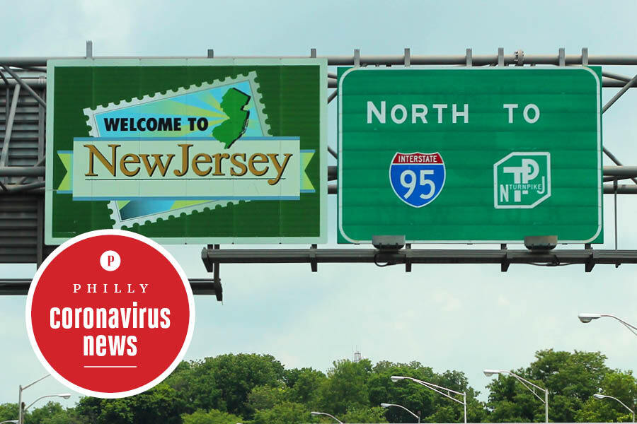 a sign welcoming drivers to New Jersey, where the state has a wall of shame for coronavirus order violators