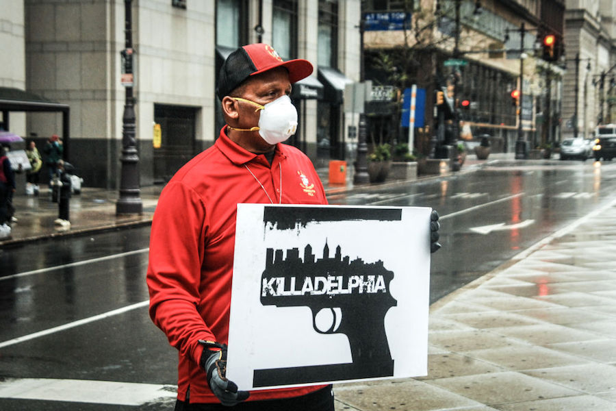 a man protesting the increasing philly murder rate amid the philadelphia coronavirus crisis