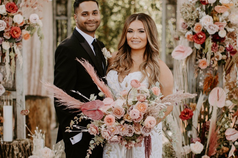 pink boho terrain wedding