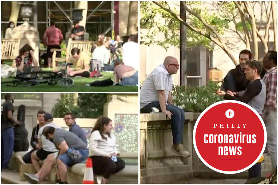 people not social distancing in Rittenhouse Square during the Philadelphia coronavirus crisis