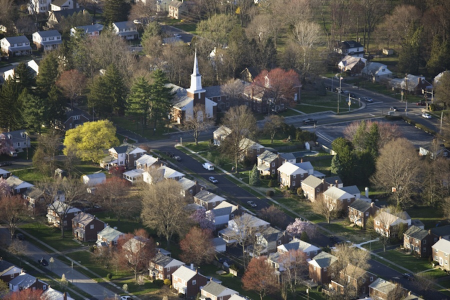 aerial view of philadelphia suburb
