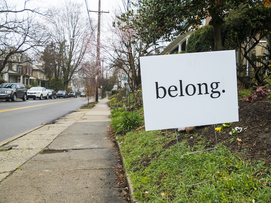 sign on street in chestnut hill