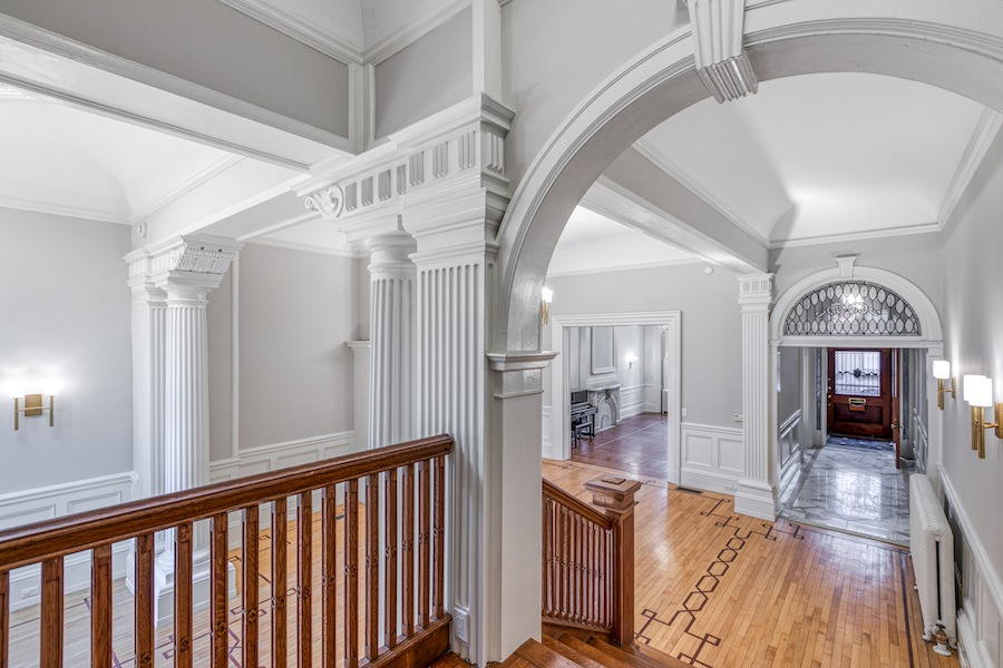 restored rittenhouse square brownstone townhouse for rent view of main living area from stairs