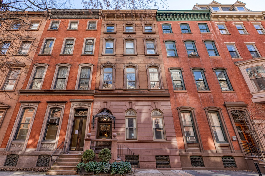 restored rittenhouse square brownstone townhouse for rent front elevation