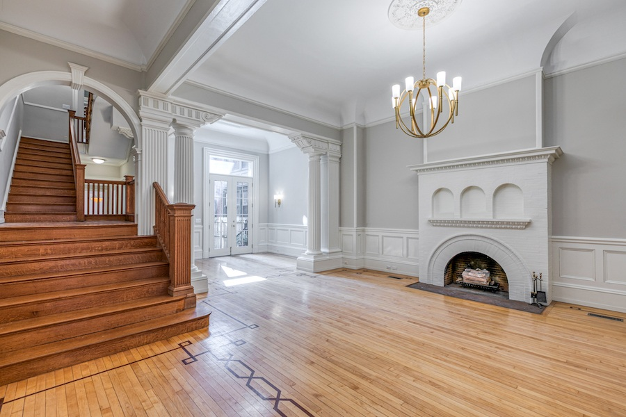 restored rittenhouse square brownstone townhouse for rent living room