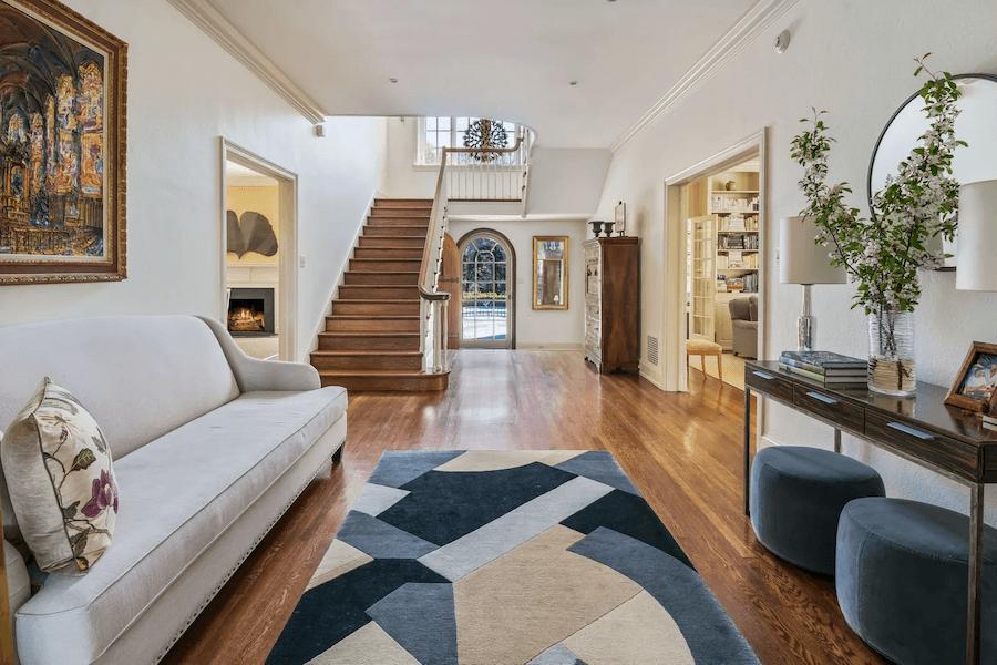 renovated chestnut hill tudor house for sale foyer