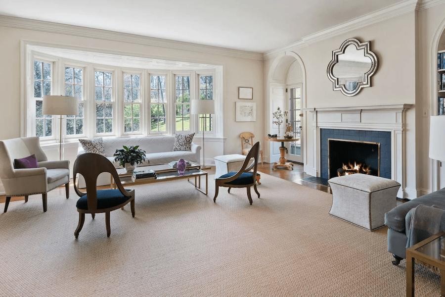 renovated chestnut hill tudor house for sale living room